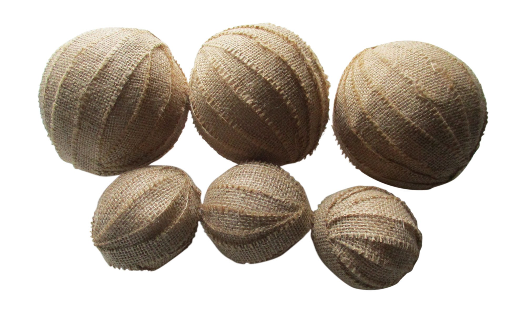 From The Attic Crafts Burlap Rag Balls Decorative Bowl Fillers 4 inch and 2.5 inch set of 6 by From The Attic Crafts (Image #1)