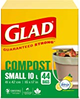 Glad 100% Compostable Bags, Lemon Scent -Small 10 litres - 44 Compost Bags (Packaging May Vary)