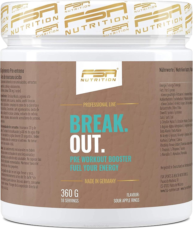 Pre Entreno – L-Arginina AAKG + Citrulina Malato + Beta Alanina + Cafeína – FSA Nutrition – 360g en Polvo – anillos de manzana ácidos