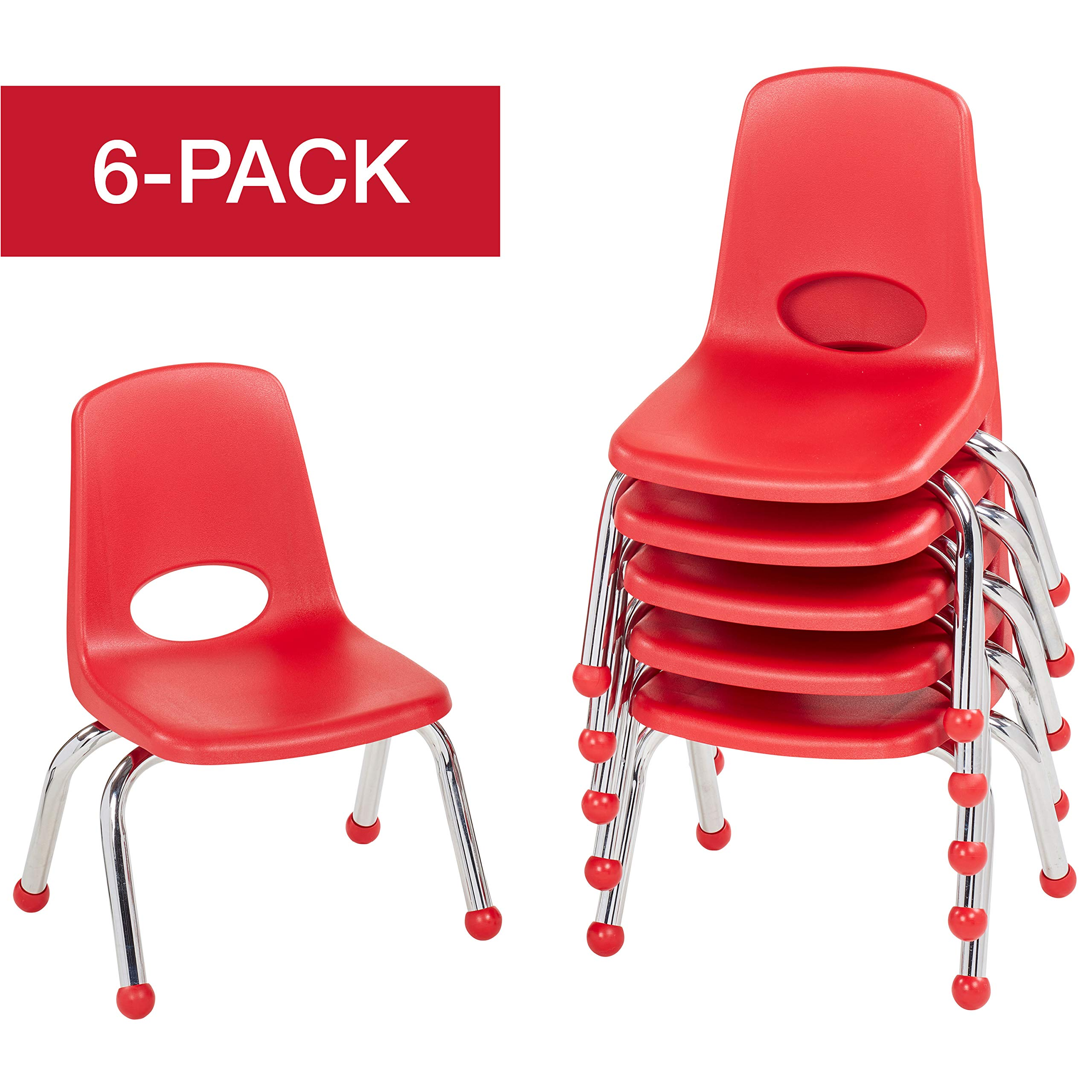 ECR4Kids 10'' School Stack Chair, Chrome Legs with Ball Glides, Red (6-Pack)