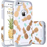 "iPhone 6s Case, iPhone 6 Case Pineapple, BENTOBEN Ultra Slim Gold Pineapple Design Hard PC Soft Rubber Glossy Anti-Scratch Shock Proof Protective Case Cover for iPhone 6 6s 4.7"", White/Gold"