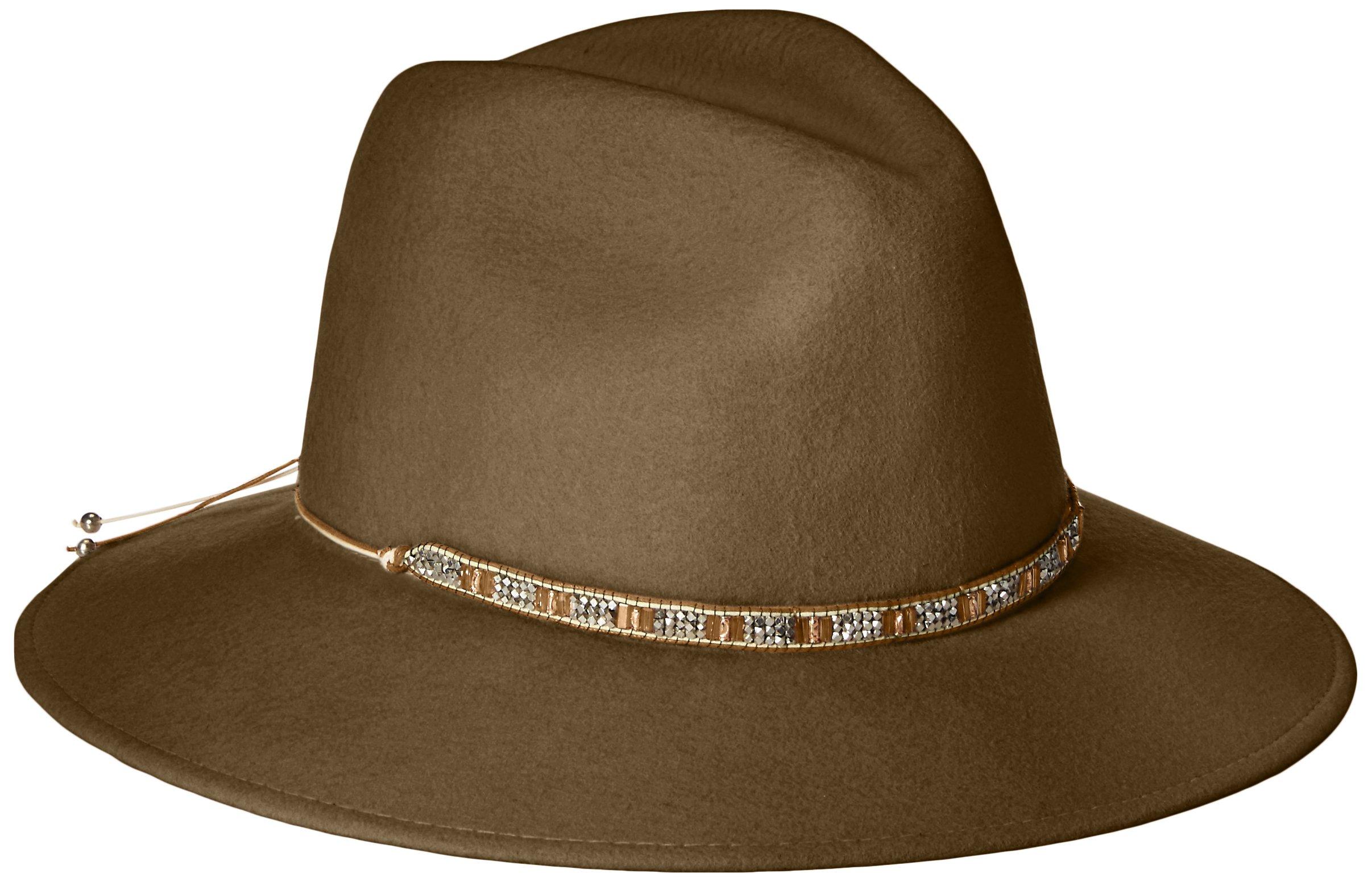 Gottex Women's Moonlight Wool Felt Sun Hat w/Jewel Trim, Rated UPF 50+ For Max Sun Protection, Brown, Adjustable Head Size