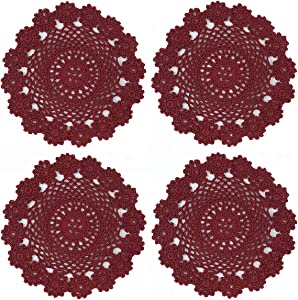 kilofly Crochet Cotton Lace Table Placemats Doilies Pack, 4pc, Red, 7 inch