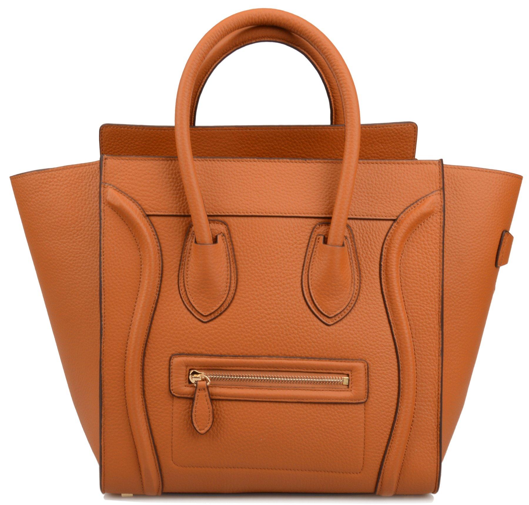 Ainifeel Women s Genuine Leather Smile Large Top Handle Handbag Purse  (Large ae62ddd988a0a
