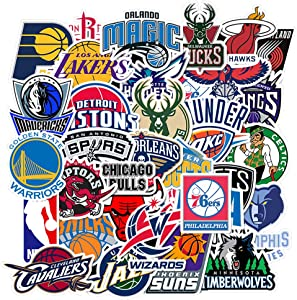Ratgoo 32 PCS Vinyl Trendy Waterproof Stickers Decals Pack of NBA Basketball Team Logo for Motorcycle Car Luggage Phone Guitar MacBook Water Bottle Hydro Flasks Bike Laptop Motocross Girls Kids Teens