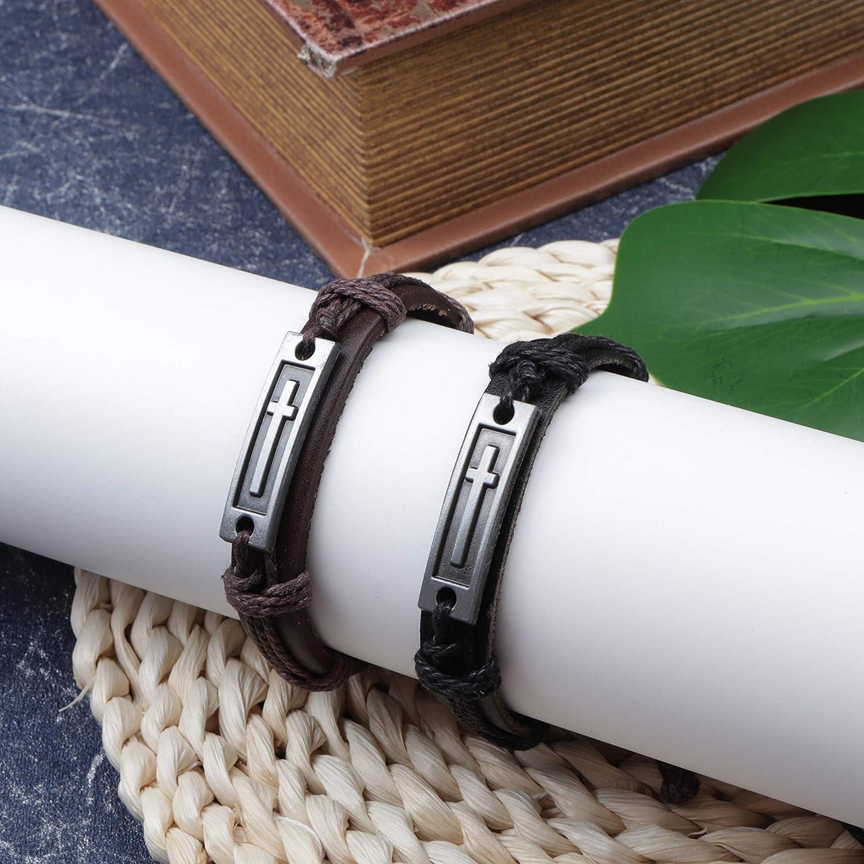 Amazon.com: SAILIMUE - Juego de 4 brazaletes de piel con ...