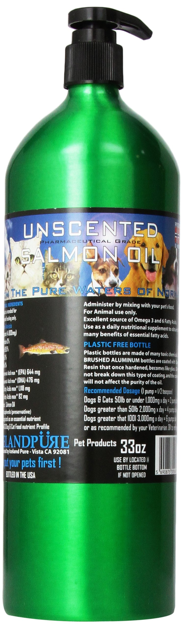 Iceland Pure Unscented Pharmaceutical Grade Salmon Oil For Dogs and Cats.Bottle Size 33 Ounces by Iceland Pure