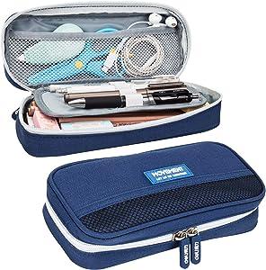 Deli Pencil Pen Case Bag Big Capacity Storage Pen Marker Holder Desk Organizer Large Box Stationery Pouch with Zipper for School & Office, Blue
