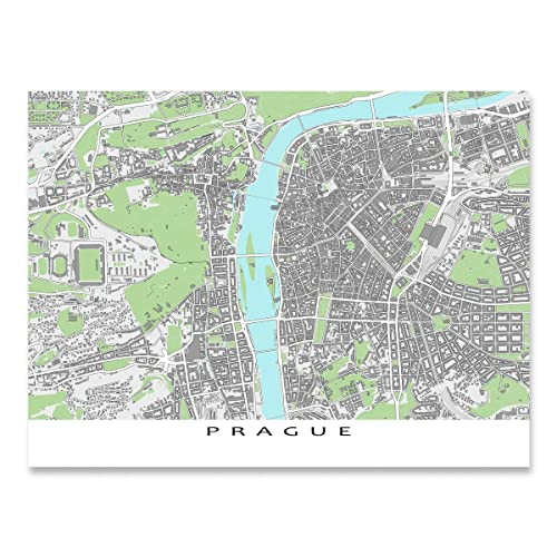 Amazon Com Prague Map Print Czech Republic Europe City Street