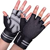 TriDeer Workout Weight Lifting Gloves for Women Men with Wrist Straps, Breathable Fingerless Gym Exercise Gloves with Grip, F