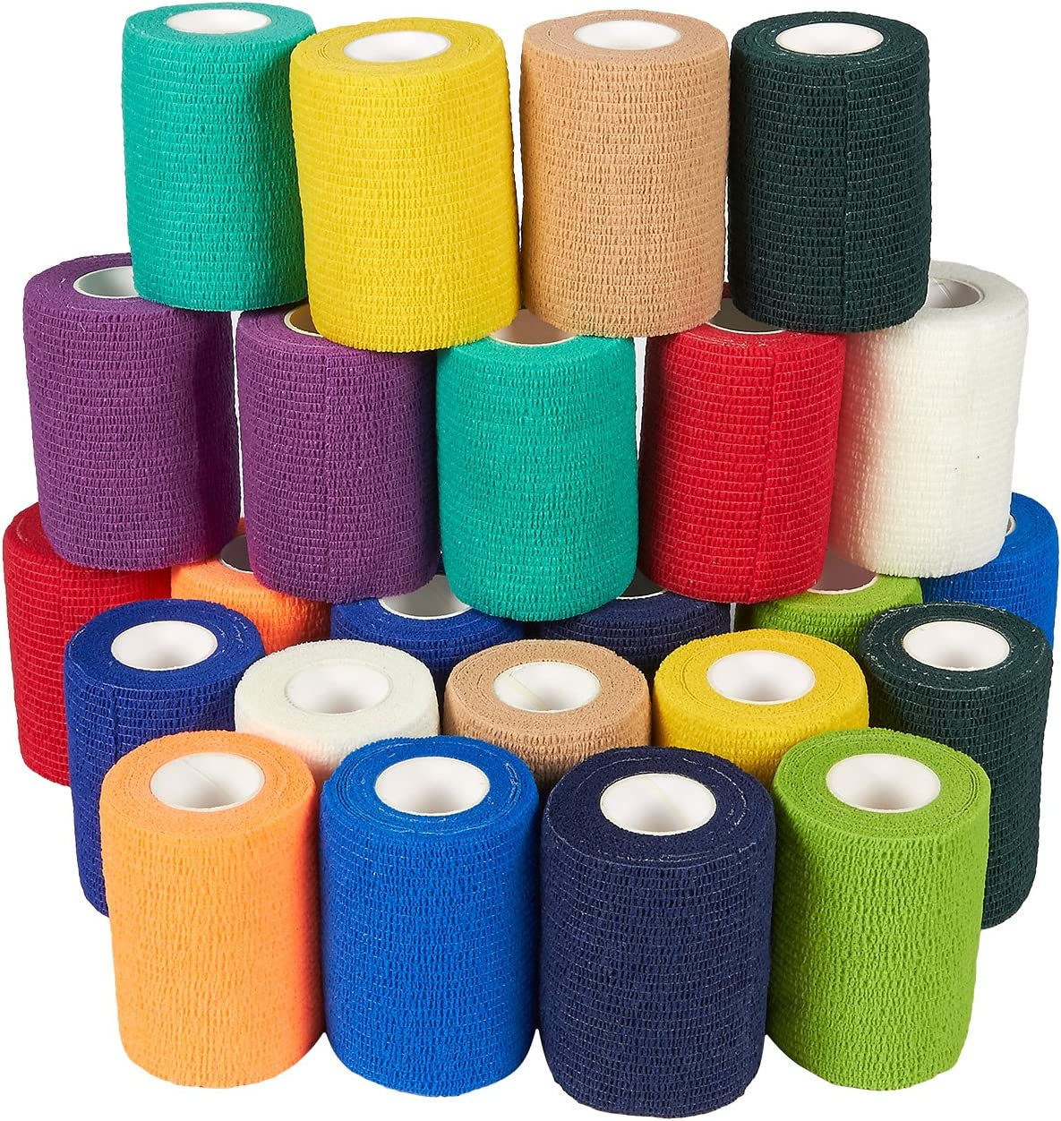 Self Adhesive Bandage Wrap, Cohesive Tape in 12 Colors (3 in x 5 Yards, 24-Pack): Health & Personal Care