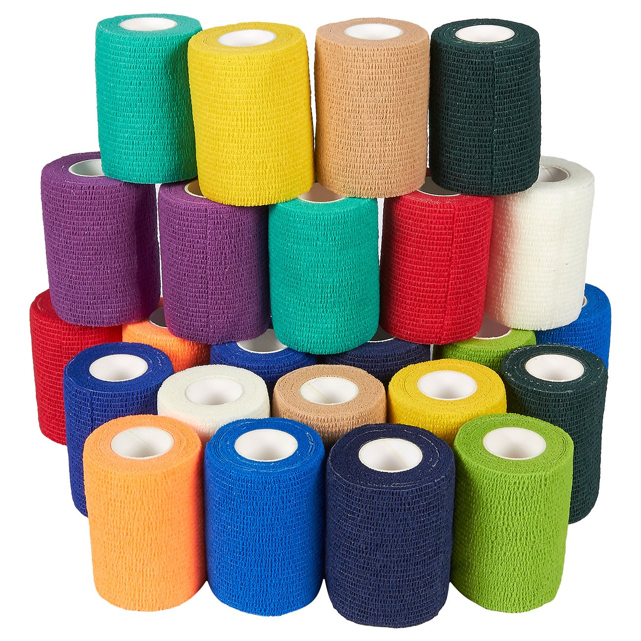 Self Adherent Wrap - 24 Pack of Cohesive Bandage Medical Vet Tape for First Aid, Sports, Wrist, Ankle in 12 Colors with 2 Rolls Each, 3 Inches x 5 Yards by Juvale