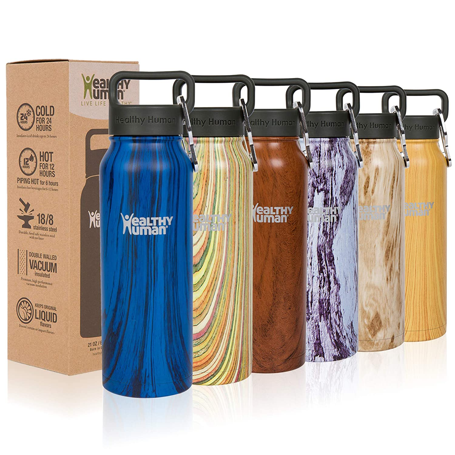 Midnight Oak 21 oz Healthy Human Stainless Steel Water Bottle Stein  Thermo Insulated Reusable Flask  Cold 24 Hrs Hot 12 Hrs  Double Wall  w Hydro Guide.  4 Sizes & 7 colors