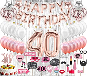 40th Birthday Decorations with Photo Props Party Supplies 40th Birthday  Balloons| Rose Gold Confetti Balloons| Hello 40 Cake Topper Silver|  Metallic