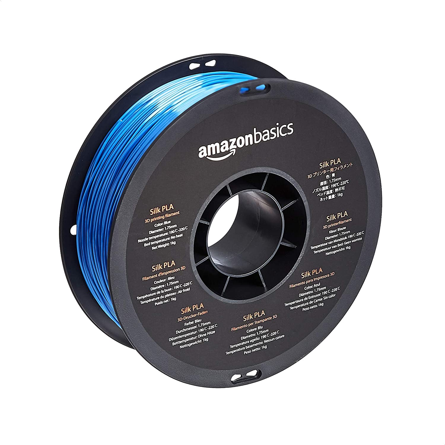 Amazon Basics SILK PLA 3D Printer Filament, 1.75mm, Blue, 1 kg Spool (2.2 lbs)