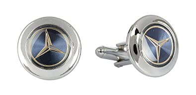 Asier Imported Mercedes Blue Glossy Metal Cufflinks for Men (5001)