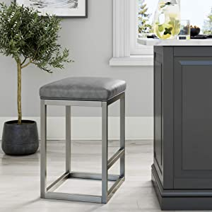 """Nathan James 22104 Nelson Bar Stool with Leather Cushion and Metal Base, 24"""", Gray/Stainless Steel"""
