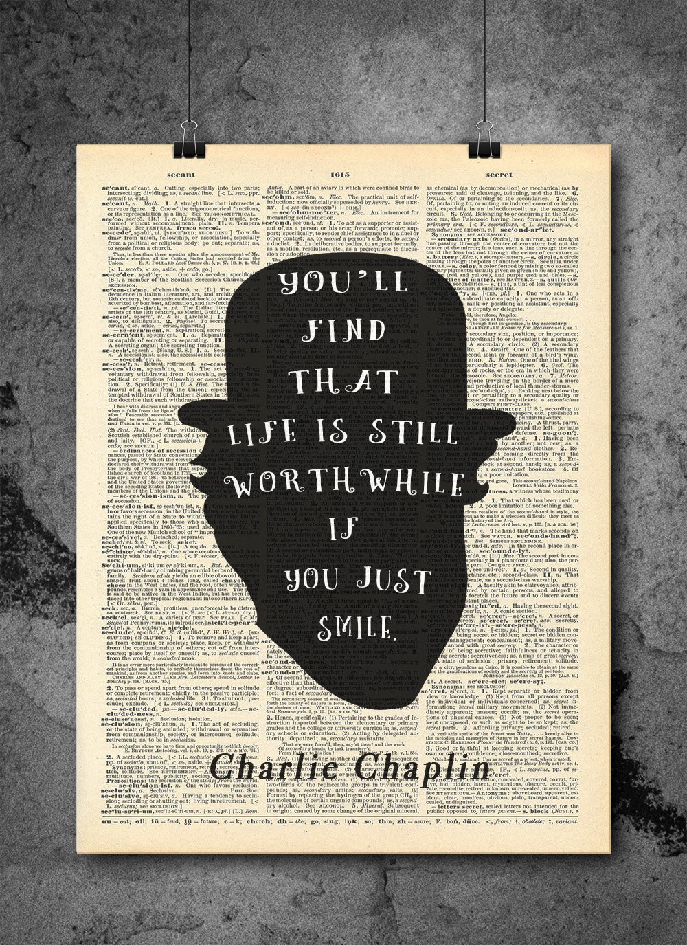 Charlie Chaplin Quote - Just Smile - Vintage Dictionary Print 8x10 inch Home Vintage Art Abstract Prints Wall Art for Home Decor Wall Decorations For Living Room Bedroom Office Ready-to-Frame