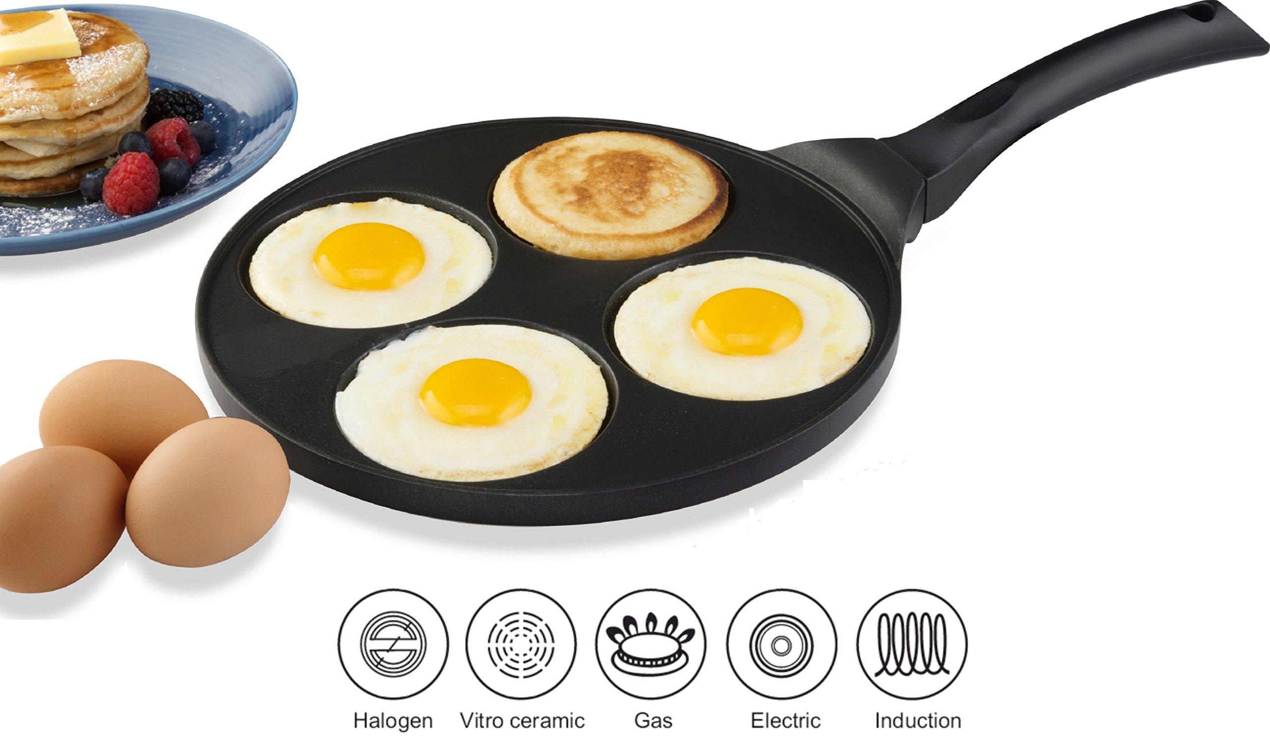 Gourmia GPA9525 Blini Pan With Induction Bottom Nonstick Silver Dollar Pancake Maker With 4-Mold Design 100% PFOA free non-stick coating
