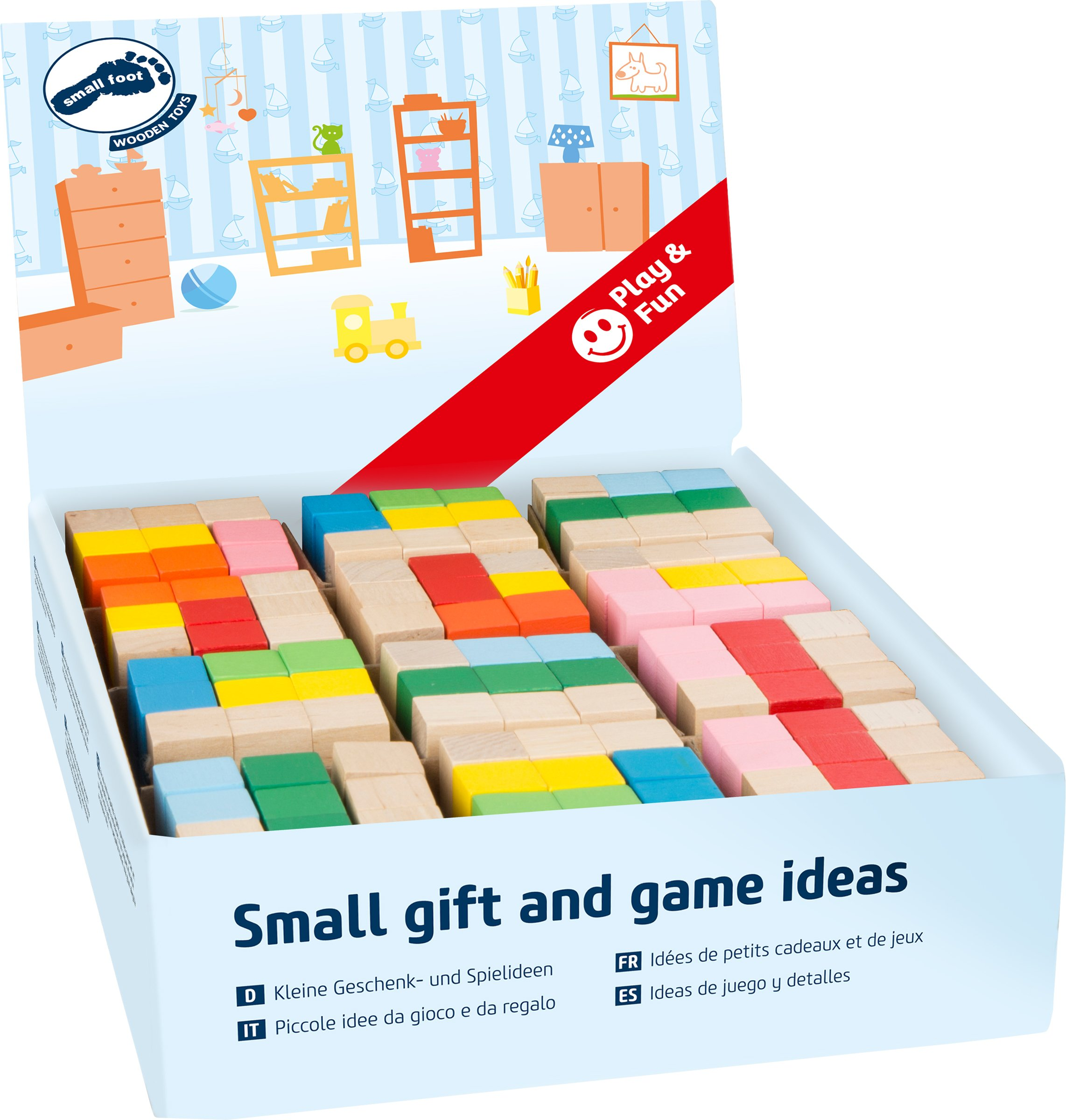 Small Foot 10687 Construction dice Made of Colourful, Connected Building Blocks, Trains The Spatial Thinking, The Motor Skill, Ideal Souvenir