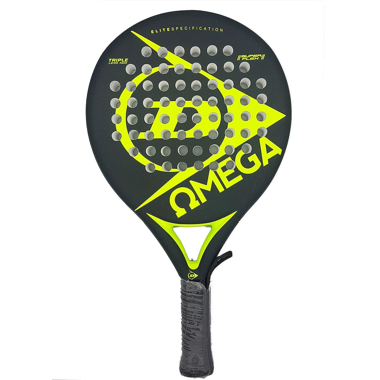 Dunlop OMEGA - Pala de pádel 38mm, 2017, nivel iniciación, color negro/amarillo