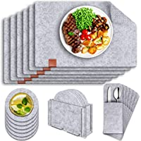 Table Mats, Set of 6 Tendak 19 Pcs Non-Slip Placemat, Washable Felt Placemats with Coasters, Cutlery Bags and Storage…