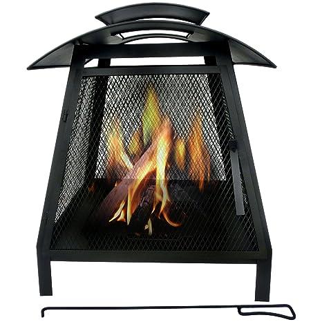 Estufa chimenea de leña de Marko para el jardín, de acero, diseño cuadrado