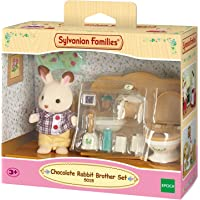 Sylvanian Families Rabbit Brother Set Frère Lapin Chocolat/Toilettes, 5015, Multicolore