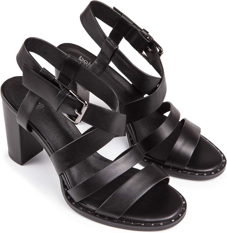 Baldi Womens Bestie Black Faux Leather Mid Wide Heel Ankle Strap Buckle Open Toe Summer Sandals Shoes US 7.5 // EU 38