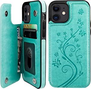 Vaburs Compatible with iPhone 12 and iPhone 12 Pro Case Wallet with Card Holder,Embossed Butterfly Pattern PU Leather Double Magnetic Buttons Flip Shockproof Cover 6.1 Inch(Green)
