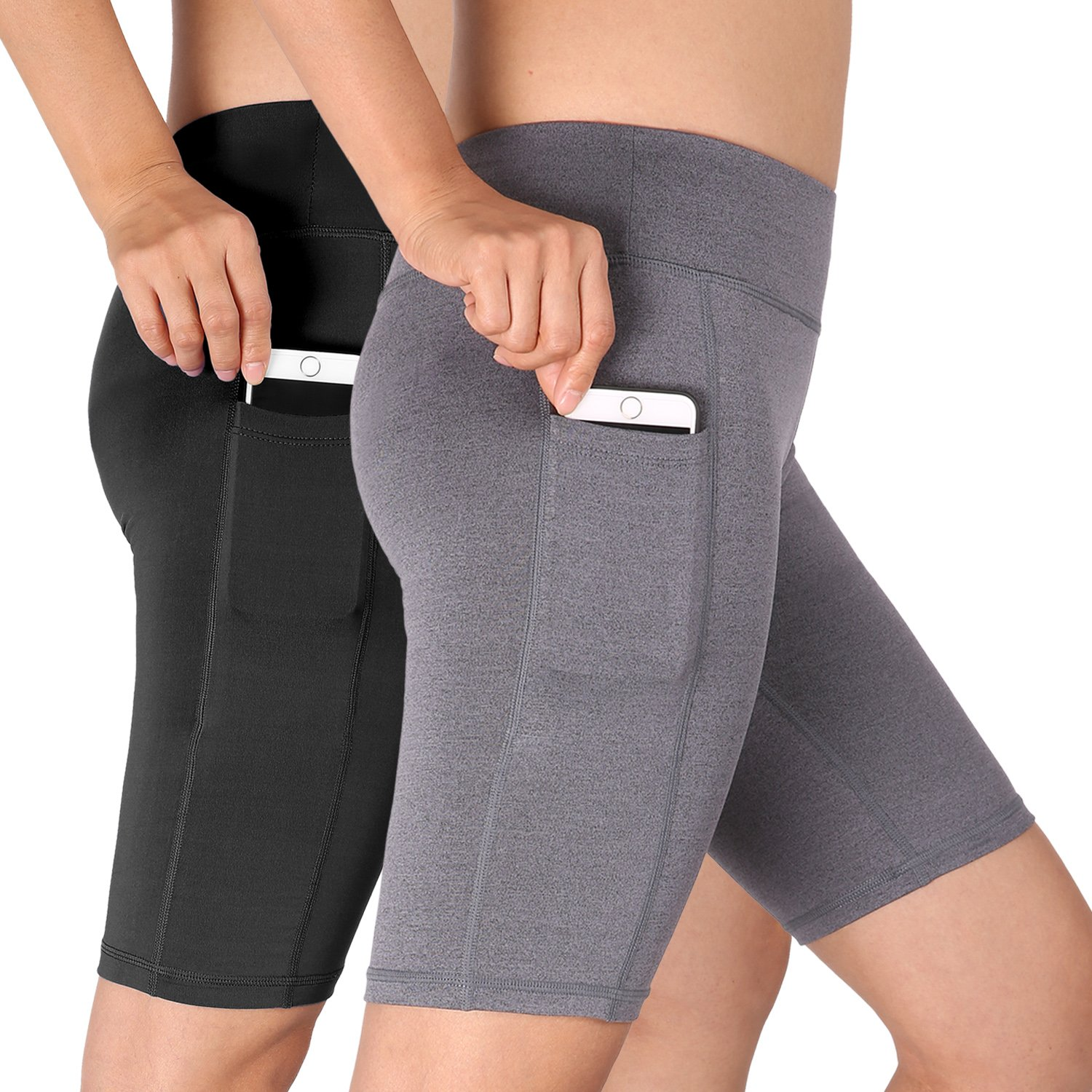 Cadmus Women's High Waist Athletic Running Workout Shorts with Pocket,2 Pack,06,Black,Grey,Small
