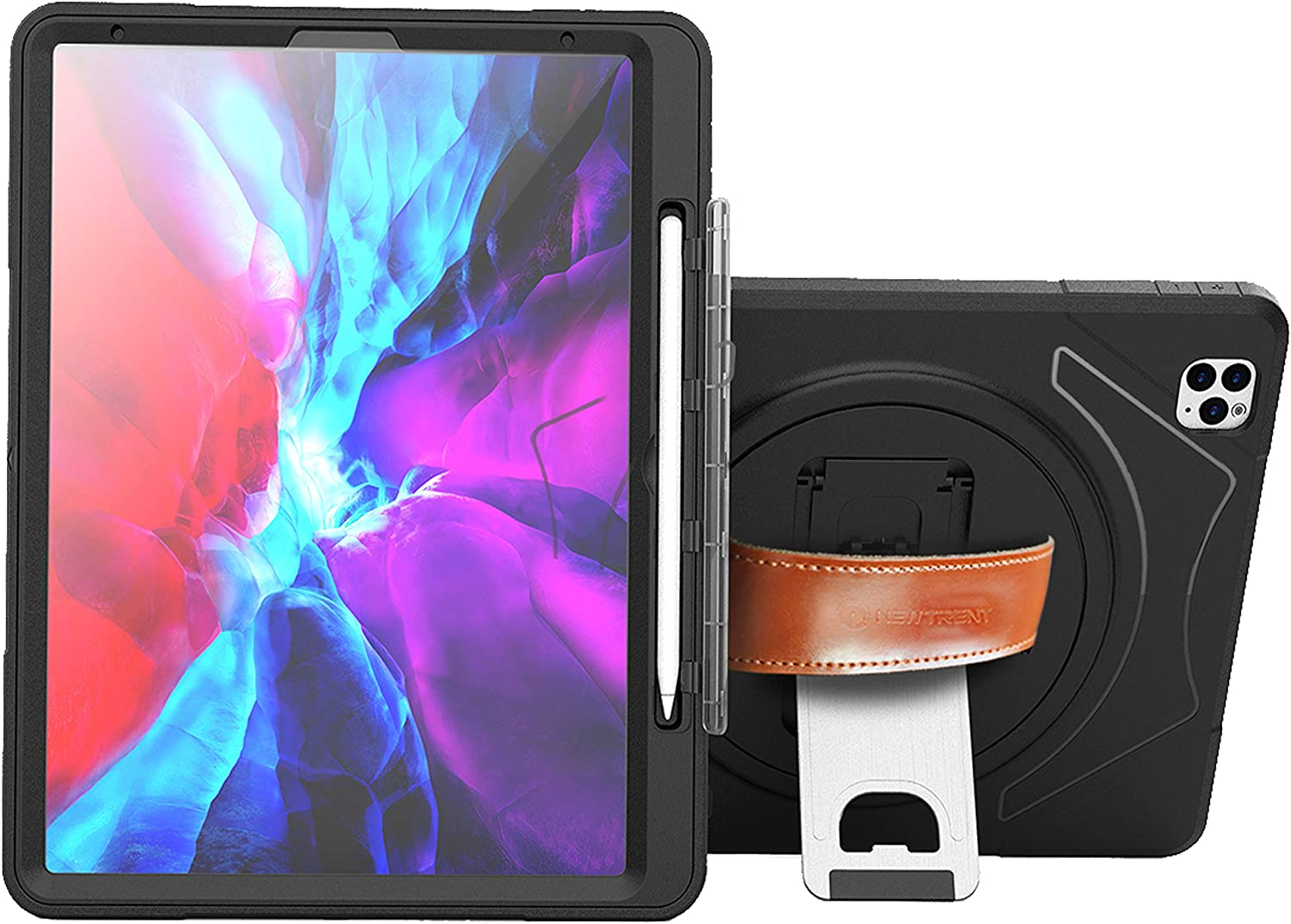 New Trent iPad Pro 12.9 Case 2020 for iPad Pro 12.9 Case 4th Generation, Full Body Rugged Kickstand ipad 12.9 2020 case, with Rotational Hand Strap, Apple Pencil Holder & Built-in Screen Protector