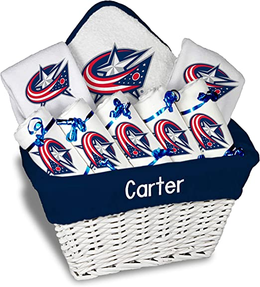 Designs by Chad and Jake Columbus Blue Jackets Infant Personalized Bib /& Burp Cloth Set