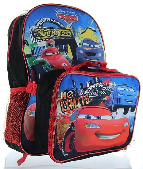 11f4b520544 Backpack - Disney - Cars McQueen Blue w Lunch Bag Set School New 054983   Amazon.ca  Luggage   Bags