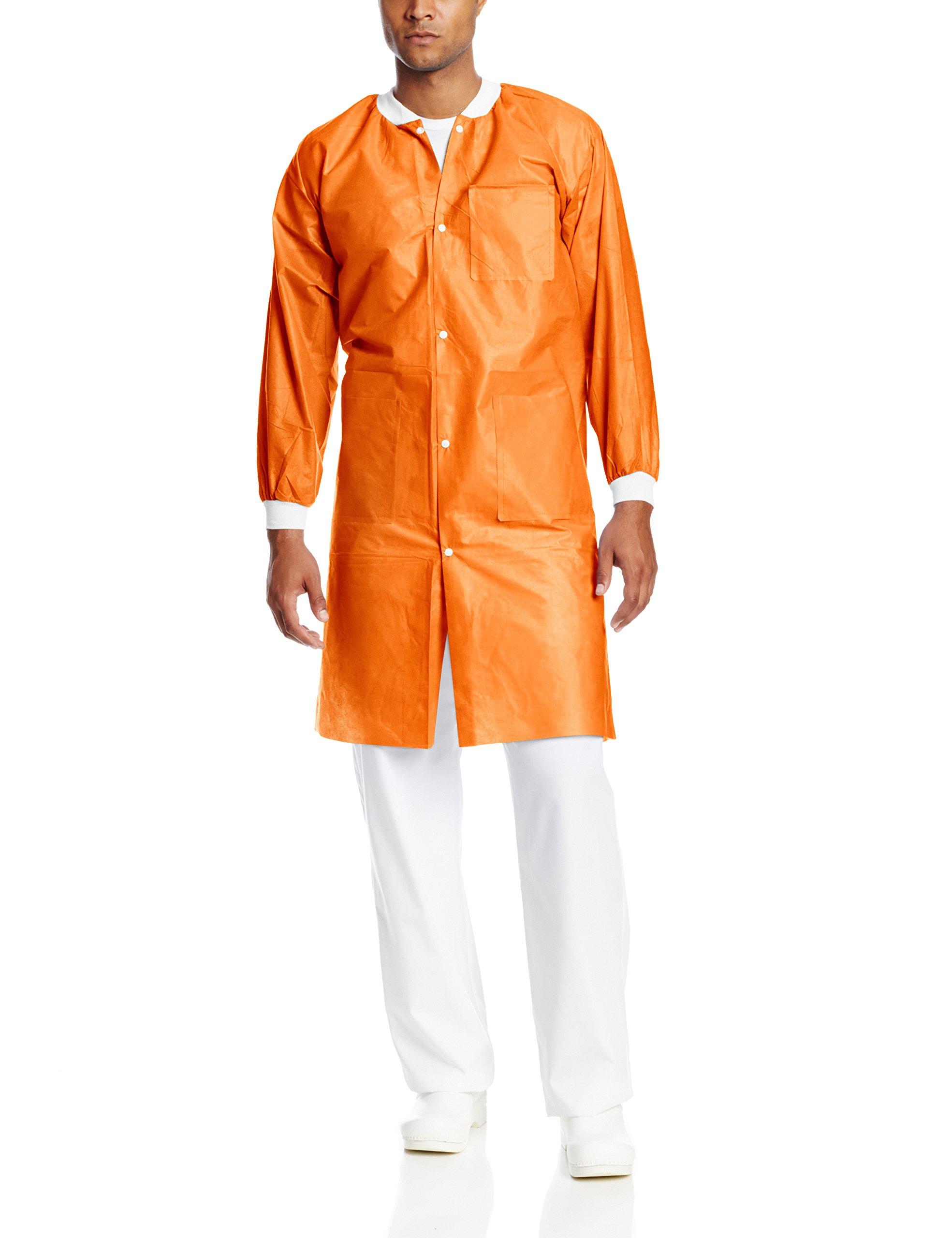 ValuMax 3660ORS Extra-Safe, Wrinkle-Free, Noble Looking Disposable SMS Knee Length Lab Coat, Orange, S, Pack of 10