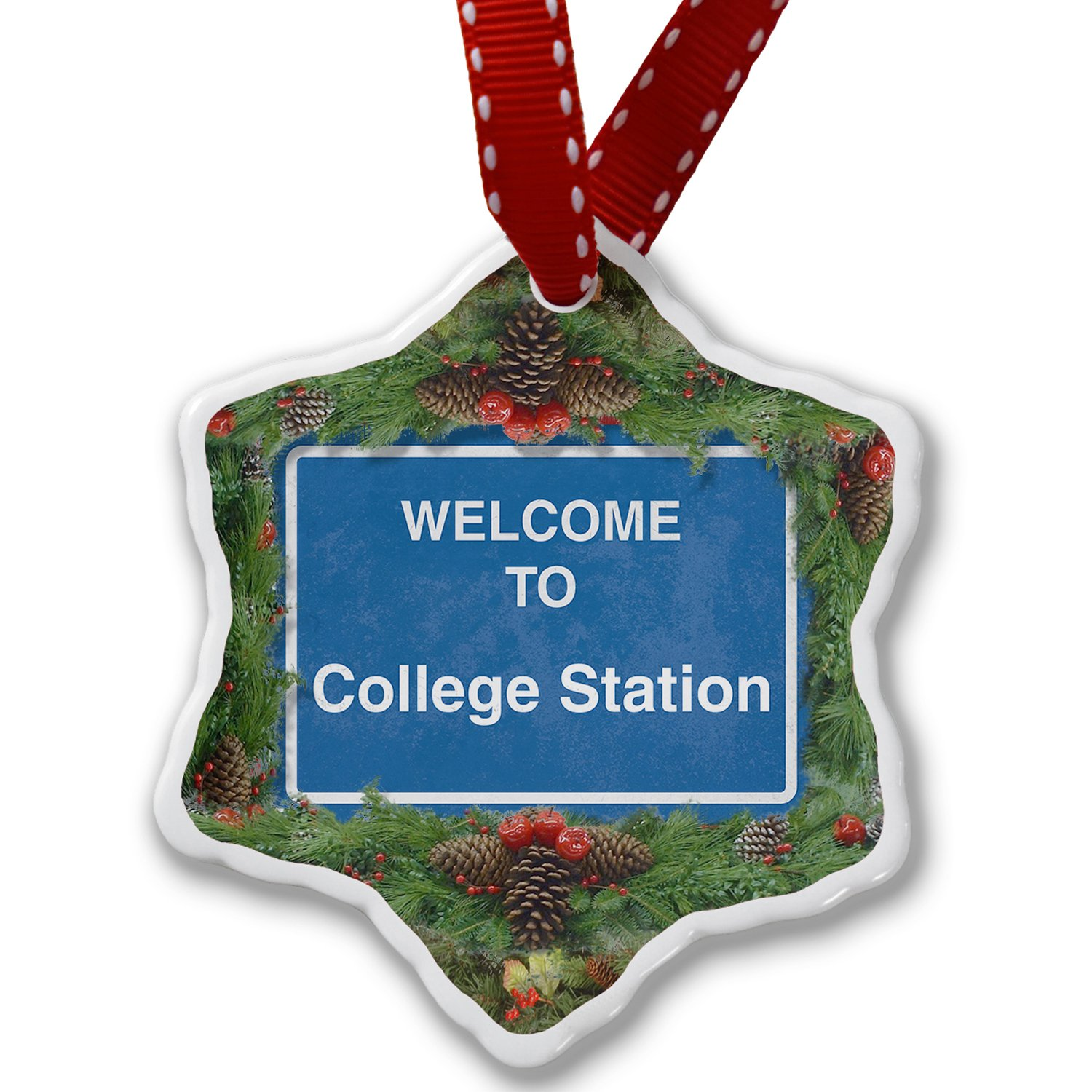 Christmas Ornament Sign Welcome To College Station - Neonblond
