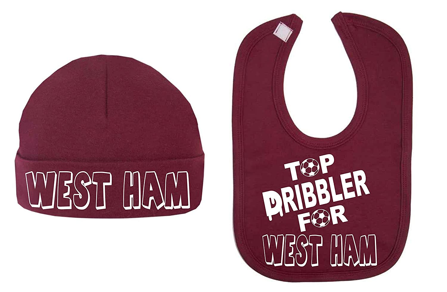 Top Dribbler for West Ham Baby Hat and Bib Set Baby Shower Gifts Football Lovers Baby Football Top (0-3 Months) ICKLE PEANUT