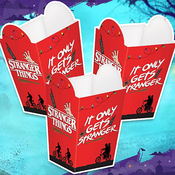 Amscan Stranger Things Popcorn Boxes 8 Pieces Great For Halloween Party And Horror Movie Marathon Officially Licensed By Amscan Health Personal Care
