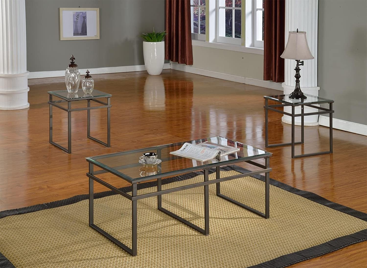 Amazon.com: 3 Pc Glass And Pewter Finish Metal Frame Coffee Table ...