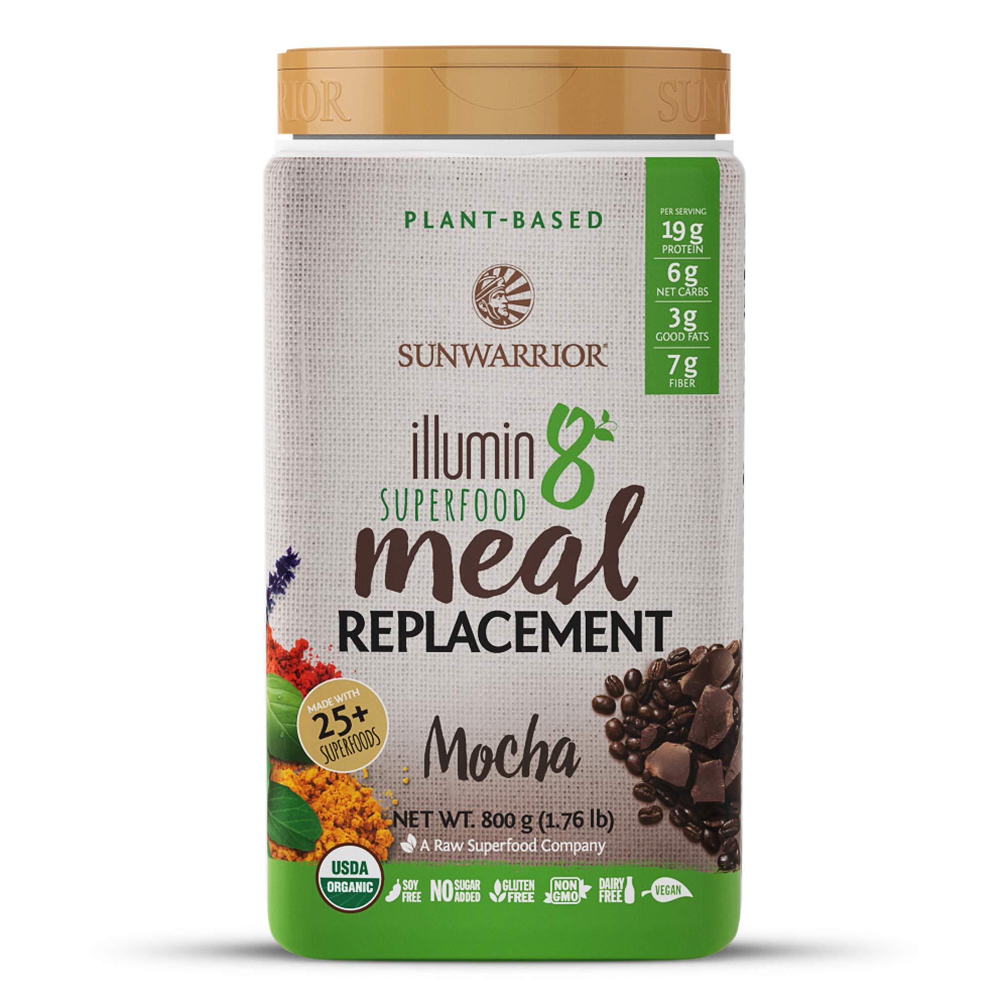 Sunwarrior - Illumin8 Plant-Based Superfood Meal Replacement, Organic, Vegan, Non-GMO (Mocha, 20 Servings)
