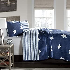 Lush Decor Star Quilt-Reversible 3 Piece Pattern Striped Bedding Set with Pillow Shams-Full Queen-Navy