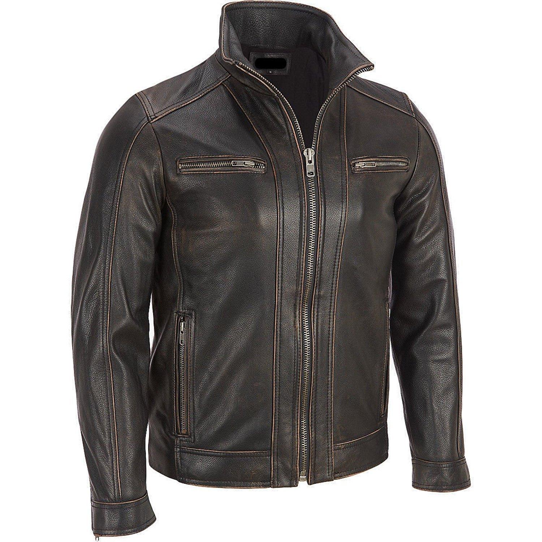 Black Rivet Mens Leather Faded Seam Cycle Genuine Cow Hide Distressed Jacket The Custom Jacket