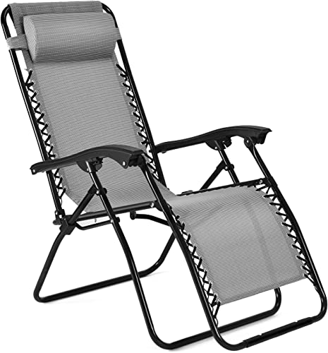 Flexzion Zero Gravity Chair – Anti Gravity Outdoor Lounge Patio Folding Reclining Chair and Textilene Seat with Footrest Adjustable Pillow for Yard, Beach, Camping, Garden, Pool, Lawn Deck Gray