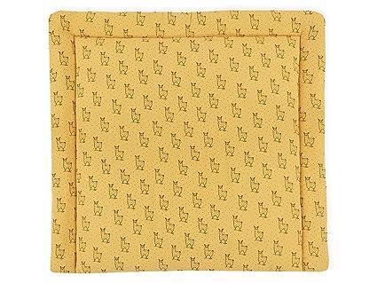 KraftKids Wickelauflage in Musselin gelb Lamma, Wickelunterlage 75x70 cm (BxT), Wickelkissen
