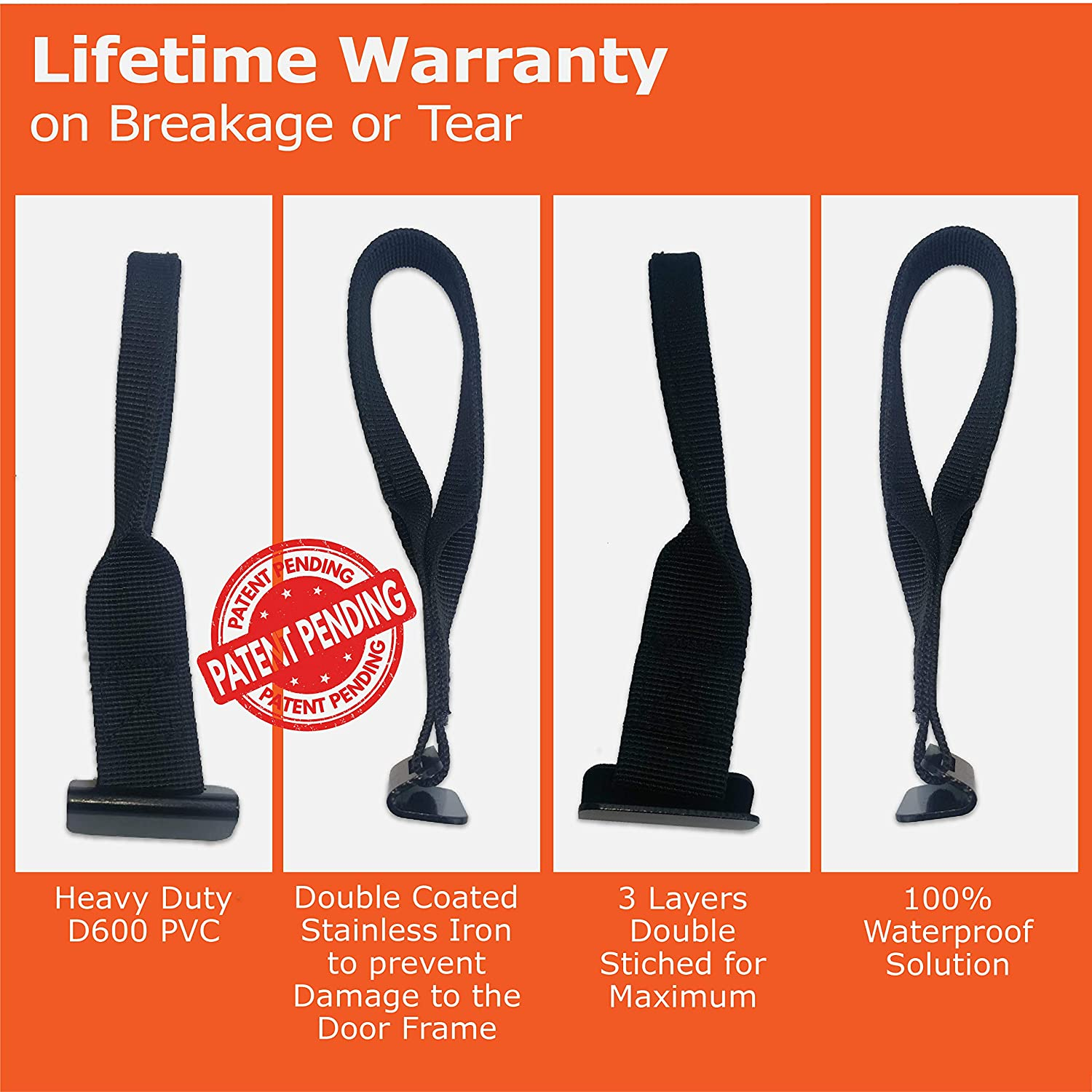 Roof Top Cargo Carrier Hooks for Securing Car Top Luggage RoofPax NO More Straps Inside CAR 100/% Waterproof Attached to Car Door Frame for: Car Roof Bags//Kayak//SAP//Ski.! Strong