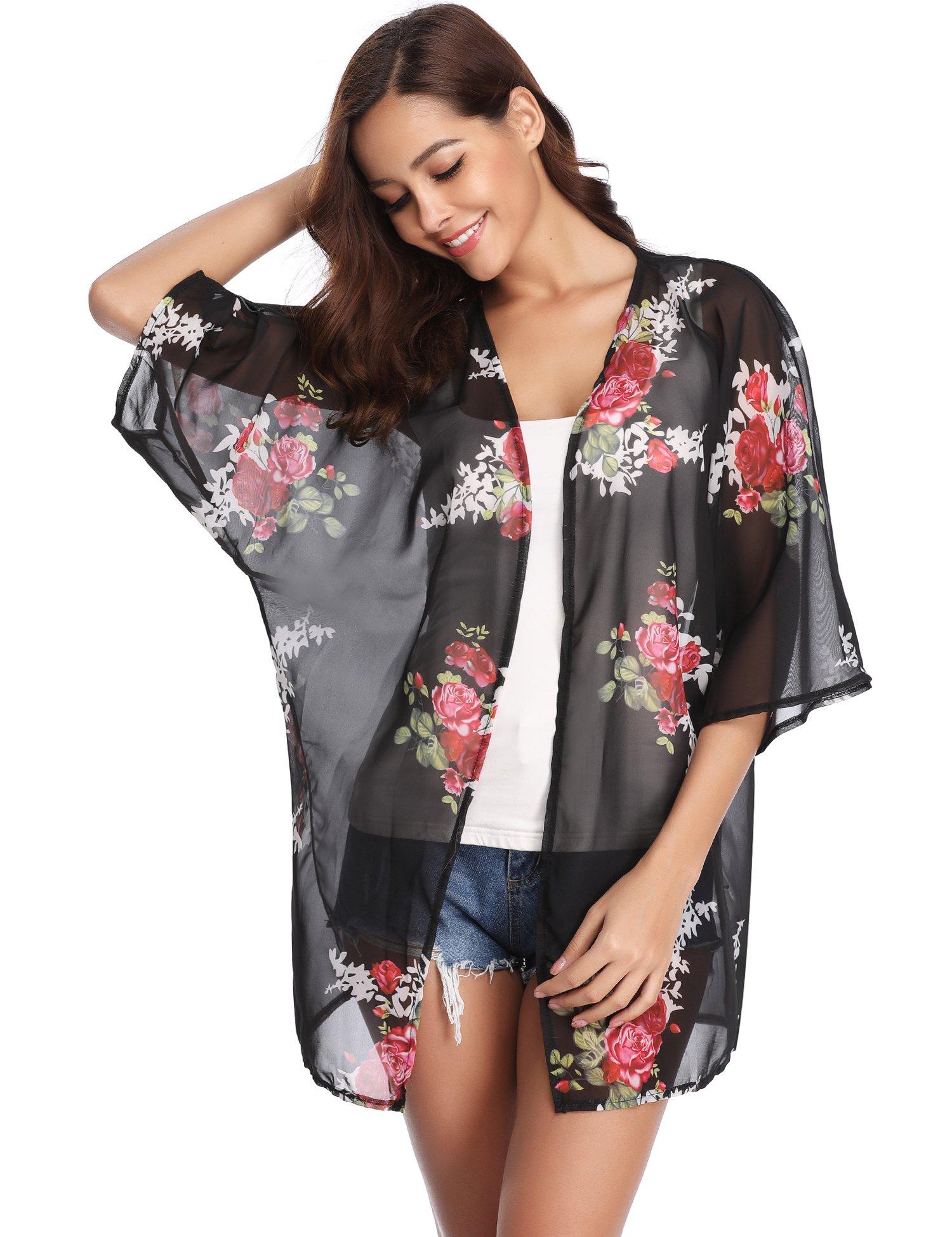 Abollria Womens Floral Print Sheer Chiffon Kimono Cardigan Blouse Loose Beach Cover up