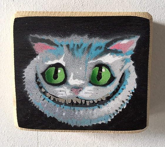 Cheshire Cat - Alicia en el país de las maravillas - Obra de arte Pintura al óleo sobre madera de roble - 11 x 10 cm - Por cobertizo del ganador del ...