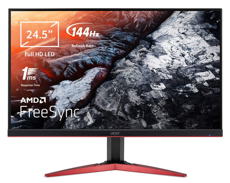 Acer KG251QFbmidpx 24.5 Inch FHD Gaming Monitor, Black (TN Panel, FreeSync, 144 Hz, 1ms, ZeroFrame, DP, HDMI, DVI)