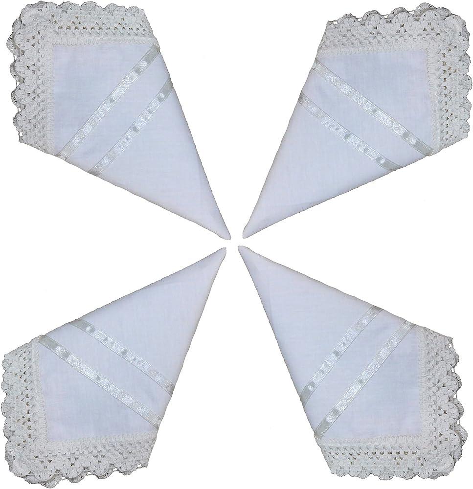 Juego de 4 pañuelos blancos de algodón para novia, ganchillo ...