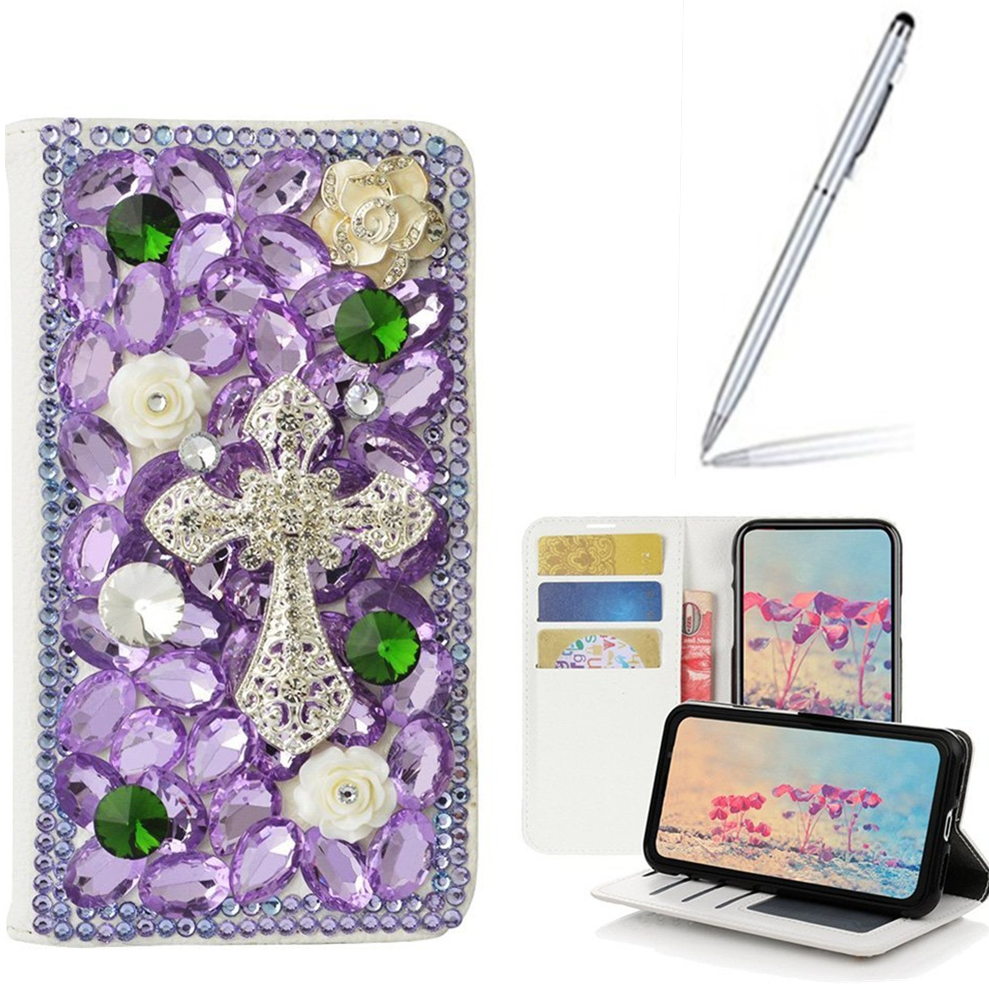Yaheeda Alcatel Verso Case,Alcatel idealXCITE Case,Alcatel CameoX Case,Alcatel Raven LT Case with Stylus, [Stand Feature] Handmade Butterfly Wallet Premium [Glitter Luxury] Leather Cover [Card Slots]